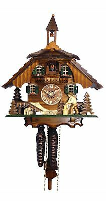 Cuckoo Clock Black Forest house with moving wood chopper EN 4441 NEW