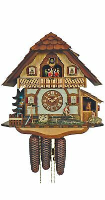 Cuckoo Clock Black Forest house with moving horse SC 8TMT 2560/9 NEW
