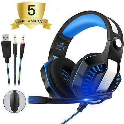 3.5mm Gaming Headset MIC LED Headphones for PC SW Laptop PS4 Slim Pro Xbox One A