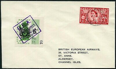 AIRMAIL BEA to ALDERNEY CHANNEL ISLANDS AIR LETTER STAMP 1953 GB