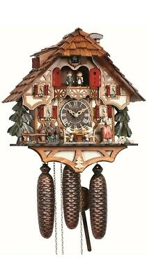 Cuckoo Clock Black Forest house with moving beer drinkers a.. SC 8TMT 6414/9 NEW