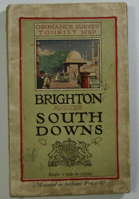 1922 Old Vintage OS Ordnance Survey One Inch Dis Tourist Map Brighton & District