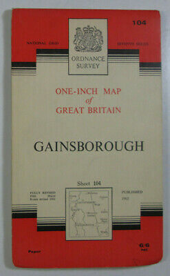 1962 Old Vintage OS Ordnance Survey Seventh Series One-Inch Map 104 Gainsborough