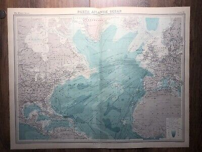 Vintage antique MAP OF NORTH ATLANTIC OCEAN SEA 1922 TIMES OCEANOGRAPHY OLD