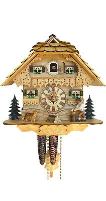 Cuckoo Clock Black Forest house with moving wood chopper SC 75/0 NEW