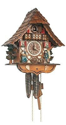 Cuckoo Clock Black Forest house with moving clock peddler SC 8T 1686/9 NEW