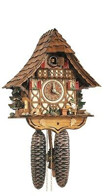 Cuckoo Clock Black Forest house with moving beer drinker SC 8T 1673/9 NEW