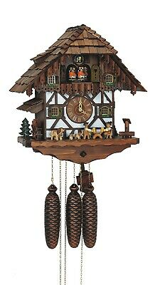 Cuckoo Clock Black Forest house with moving beer drinkers an.. SC 8TMT 483/9 NEW