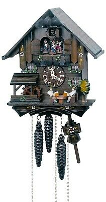 Cuckoo Clock Black Forest house with moving beer drinkers an.. SC MT 1407/10 NEW