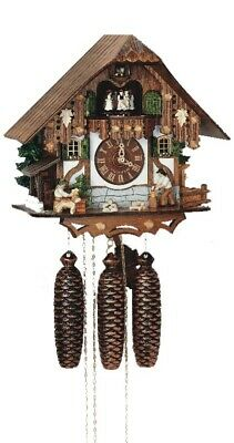 Cuckoo Clock Black Forest house with moving wood chopper, .. SC 8TMT 6407/10 NEW