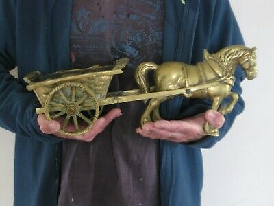 Vintage English Large very heavy 6KG Solid Brass Horse & Cat