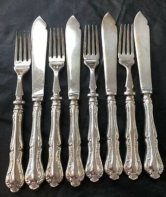Vintage Mappin & Webb Silver Plated 4 Fish Forks & 4 Knives Set