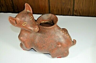 Large Mexican Pre Columbian Style Fox Pottery Vase Planter Figure