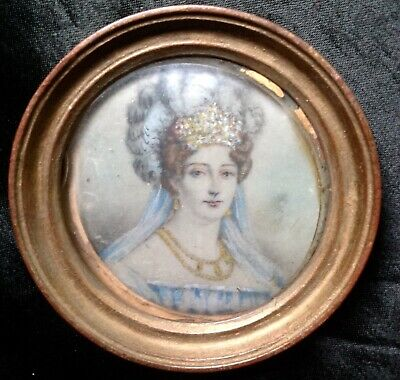 Lovely C1820 Empire Georgian Portrait Miniature French Lady Headress Feathers