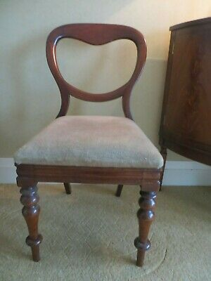 Antique Victorian Balloon Back Mahogany Chair Turned Legs
