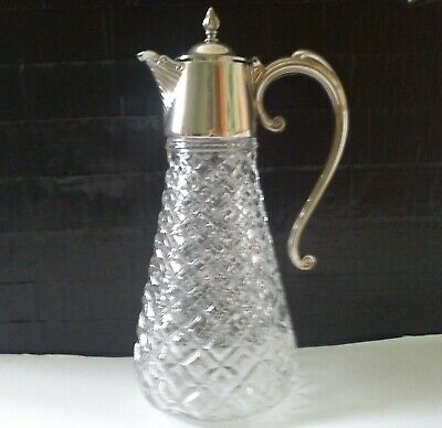 Vintage Glass Decanter with Silver Plate Fittings Made In England - Heavy