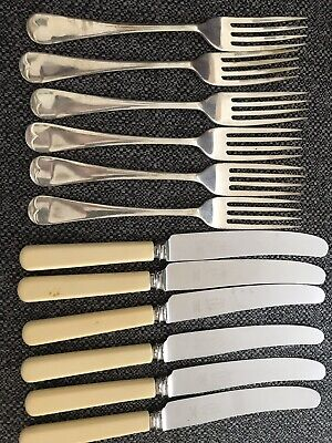 6 x VINTAGE SILVER PLATED LARGE FORKS AND 6 x KNIVES, HALLMARKED EPNS