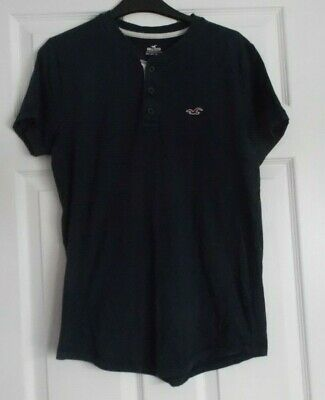 Hollister XS T Shirt navy blue 3 Buttons short sleeves