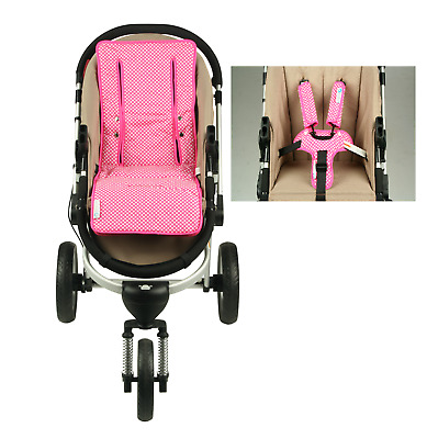 Keep Me Cosy™ Universal Pram Liner + FREE Harness & Buckle Cosy -  Pink Spot