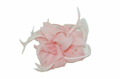 Ladies Pale Pink Petals and Feathers Fascinator on Hair Clip & Brooch UK