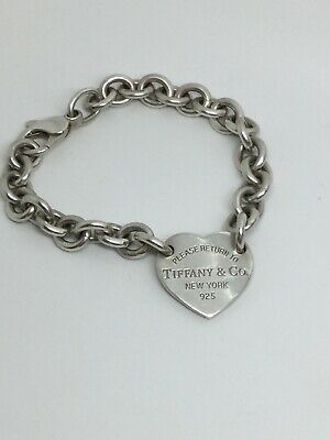 """Sterling Silver Please Return To Tiffany Co. Heart Tag Charm Bracelet 6.75"""""""