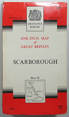 1963 old vintage OS Ordnance Survey seventh series one-inch Map 93 Scarborough