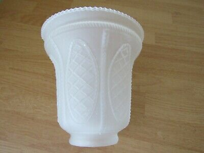 """Vintage Antique Glass Shade Frosted Sawtooth Edge Embossed Oval Lattice 2"""" Fit"""