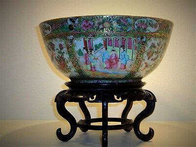 Antique Chinese Rose Medallion Famille Rose 19C Punch Bowl with Stand 1850-1899
