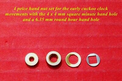 New cuckoo clock hand nuts, 4 pieces for early 1950's count wheel movements.