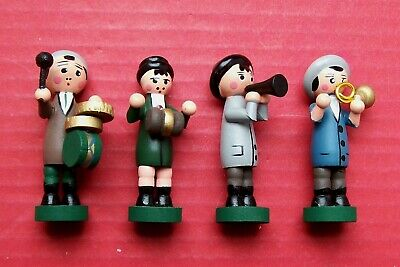All wood boys band,  for the front of a musical cuckoo clock.  4 figures in set.
