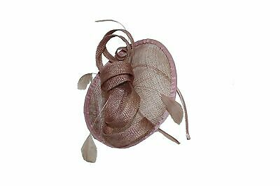 Taupe Sinamay Mini Disc with Bow Fascinator, Events, Parties, Ladies UK