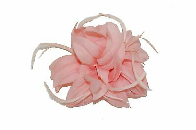 Ladies Peach Petals and Feathers Fascinator on Hair Clip & Brooch Women UK