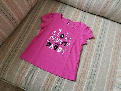 I Love Mummy and Daddy - baby girl top shirt in pink (86 / 12 Months)