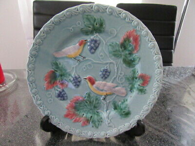 German majolica bird plate  - Stunning Black Forest Art Pottery