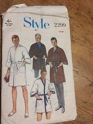 Vintage Style 2299 60s MENS ROBE / DRESSING GOWN Sewing Pattern SIZE LARGE