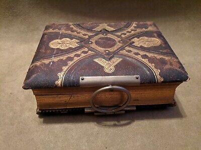 Antique 1800s 19th C TINTYPE CDV CABINET CARD PHOTO FAMILY LEATHER ALBUM ASIS