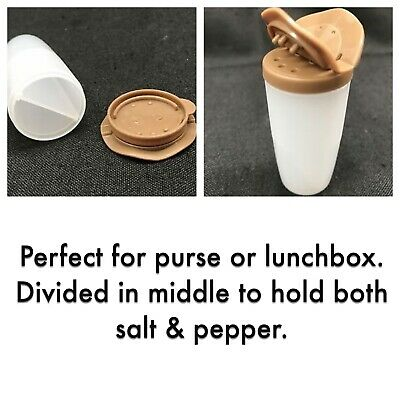 NEW Tupperware Mini Salt & Pepper Shaker - Open House, Brown Holds Salt & Pepper