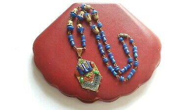 Czech Vintage Art Deco Max Neiger Enamel And Glass Bead Necklace