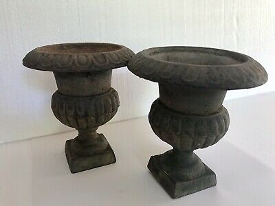 Pair of 2 Small Antique Cast Iron Garden URN Planter or Decor Bookends