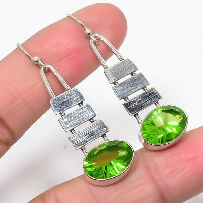 "Matte Finish Burmese Peridot 925 Sterling Silver Antique Look Earring 1.97"" (4)"