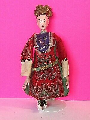 Antique Vintage Carved Wood Wooden Oriental Chinese Opera Doll