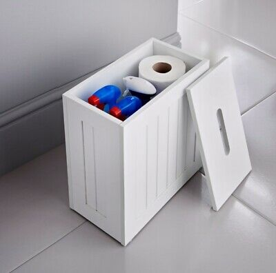 Maine White Small Bathroom Storage Unit Cleaning Tidy Box - Hinch Your Bathroom