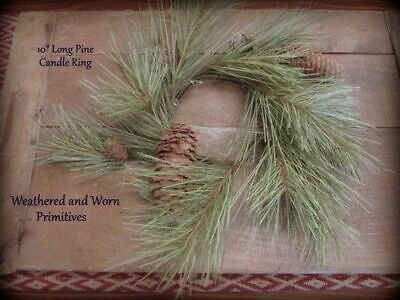 """Primitive Country Long Needle Pine Candle Ring 10"""" Outside/3.5"""" Inside Diameter"""