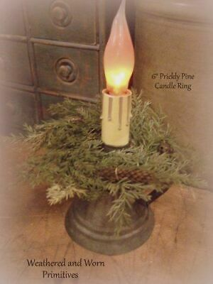 "Primitive Country Prickly Pine 6"" Mini Candle Ring - Great for Chandelier Arms"