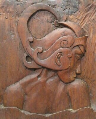 Old Vintage Hand Carved Asian Wooden Relief Wall Hanging Plaque Ethnic Carving