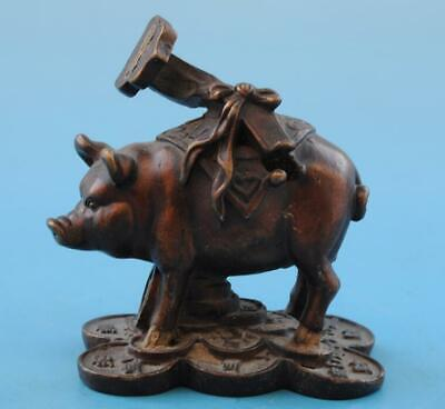 Chinese old fengshui copper hand-carved zodiac Wealth pig Ruyi statue d01
