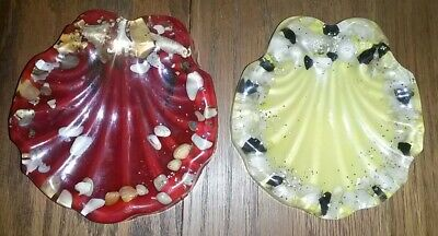 Two 2 Vintage Lucite 1960's Soap Dish Shell Tray with Glitter Mid Century Retro