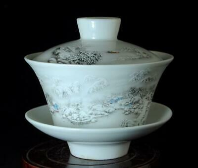 Chinese Old Hand-Made Pastel Porcelain Hand Painted Snow Scene Cup B02