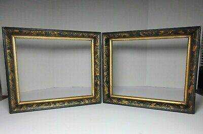 Antique PAIR PAINT Decorated WOOD FRAMES 19TH CENTURY AMERICAN FOLK ART
