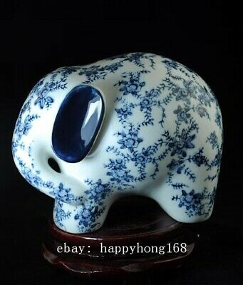 Chinese Old Hand-Made Blue And White Porcelain Sculpture Elephant Statue C01